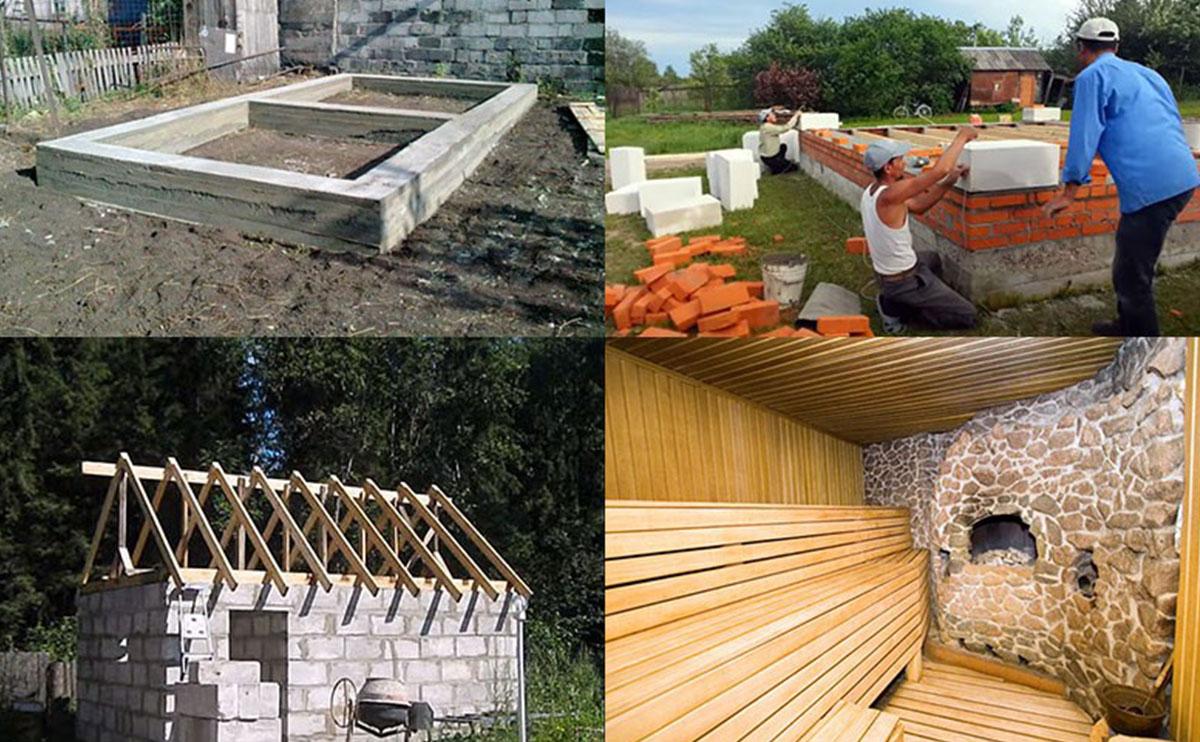 Строительство бани по этапно