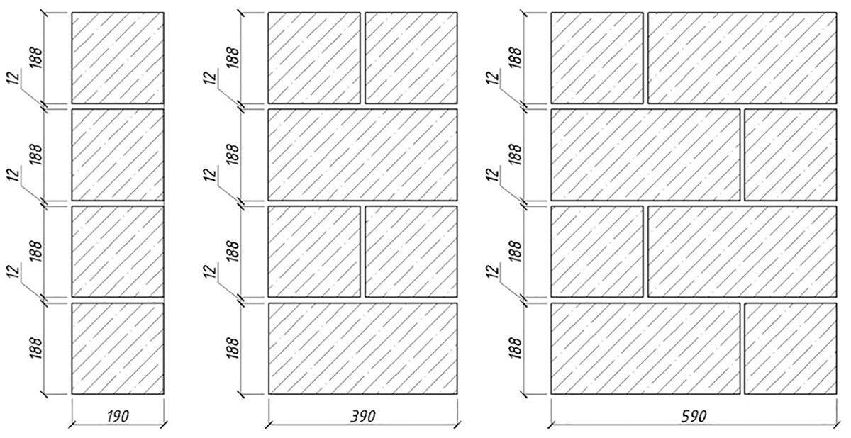 Схема кладки стен из керамзитобетона