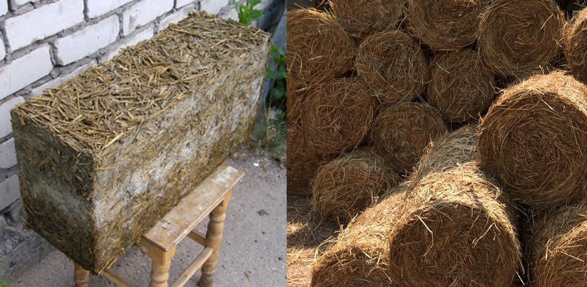 Блок из сена и цемента