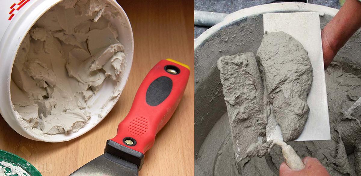 Цементный раствор и шпатлевка