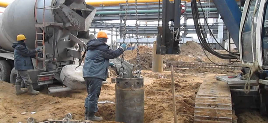 Заливка бетоном буронабивной сваи