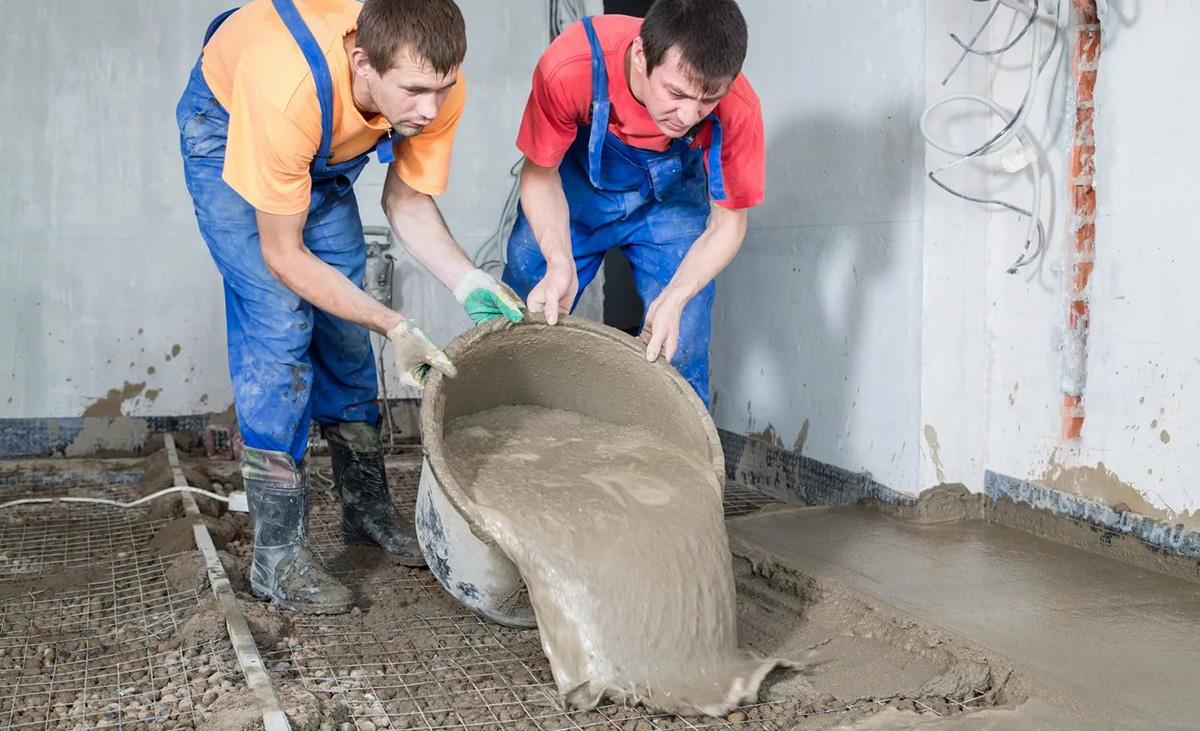 Стяжка пола бетоном