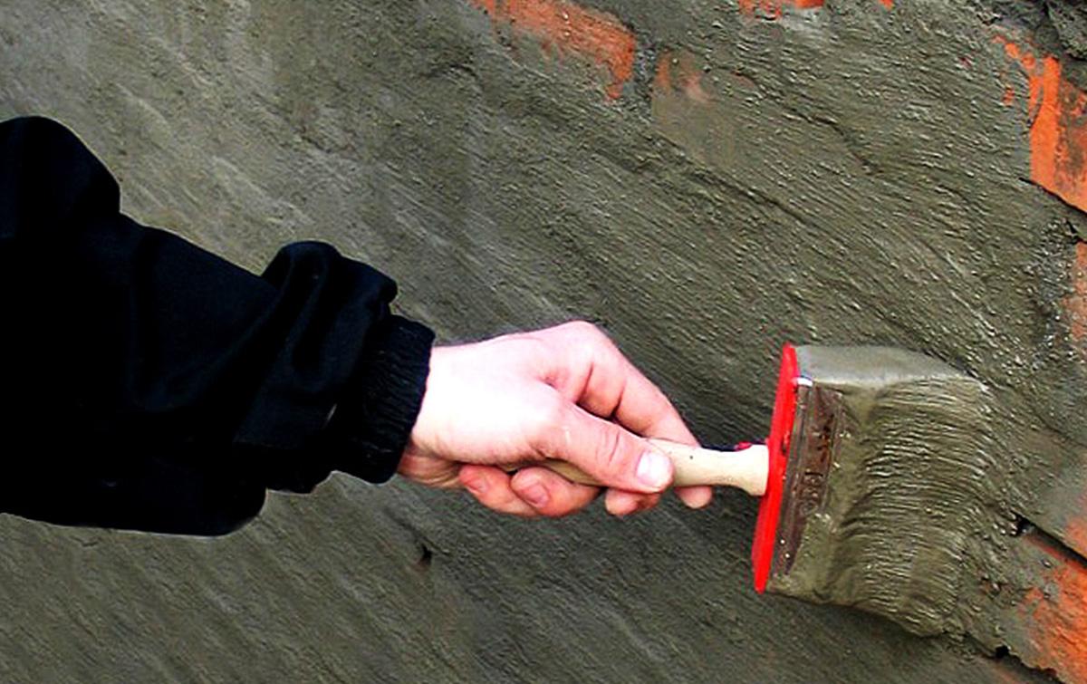 Нанесение цементной гидроизоляции