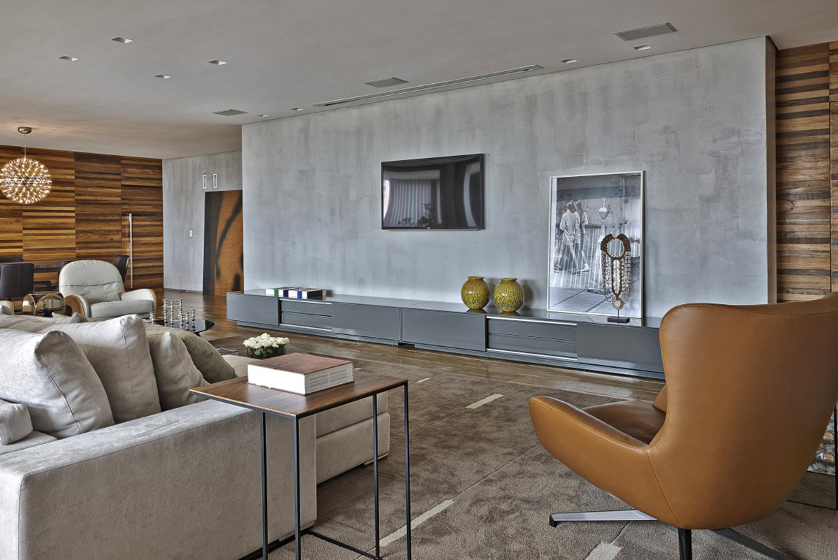 Интерьер гостинной под бетон